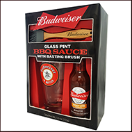 Budweiser Single Pint with BBQ Sauce and Brush
